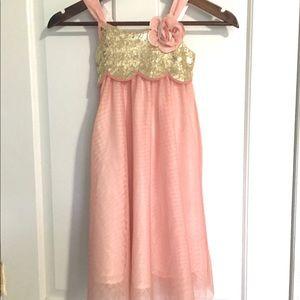 H&M Blush & Gold Shimmer Rose Sequin Rose Dress 4